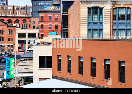 A closed up view buildings in Meatpacking district seen from High Line Park.Manhattan.New York City.USA - Stock Photo