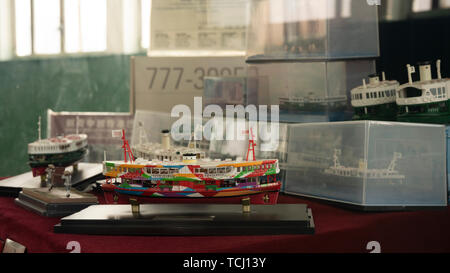 Tsim Sha Tsui, Hongkong, China, 22nd, January, 2019: The model ship display in the showcase. - Stock Photo