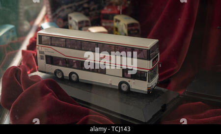 Tsim Sha Tsui, Hongkong, China, 22nd, January, 2019: The model bus display in the showcase. - Stock Photo