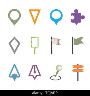 GPS Map Pointer Set Isolated Vector Illustration Icon. Map Pin Concept Symbol on White Background - Stock Photo