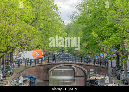 Post.nl Van On The Reguliersgracht At Amsterdam The Netherlands 2019 - Stock Photo