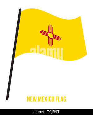 New Mexico (U.S. State) Flag Waving Vector Illustration on White Background. Flag of the United States of America. - Stock Photo