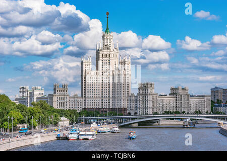 Retro skyscraper on Kotelnicheskaya embankment by Moscow river at summer day time. Moscow. Russia. - Stock Photo