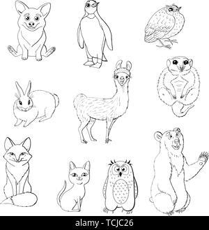 Set of cute animals isolated on white background.  red fox, owl, rabbit, meerkat, cat, corgi, bird, penguin and bear. black and white monochrome. stoc - Stock Photo