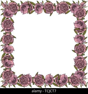 Hand drawn doodle style peony flower wreath. floral design element. - Stock Photo