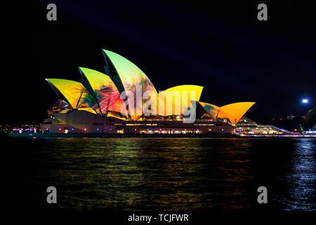 The Sydney Opera House at night during the popular light festival Vivid. Sydney, Australia. - Stock Photo