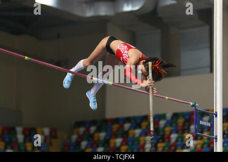 ISTANBUL, TURKEY - FEBRUARY 16, 2019: Undefined athlete pole vaulting during Balkan Athletics Indoor Championships - Stock Photo