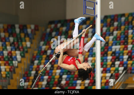 ISTANBUL, TURKEY - FEBRUARY 16, 2019: Undefined athlete pole vaulting during Balkan Athletics Indoor Championships Stock Photo