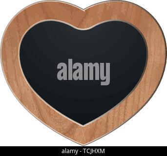 heart board slate wood chalk shield shape vector love - Stock Photo