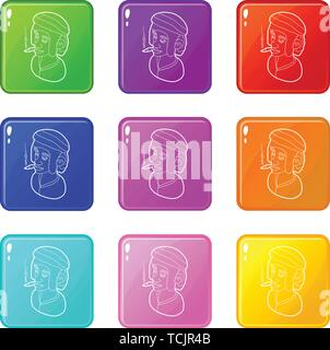 Rastafarian man wearing headband and smoking icons set 9 color collection - Stock Photo