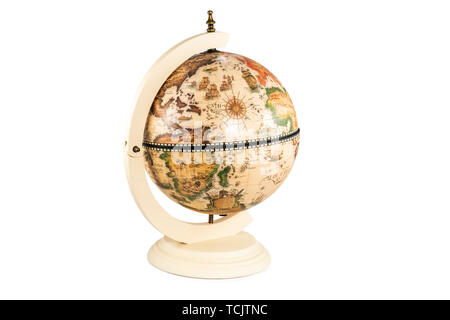 retro globe with america in the foreground isolated on white background - Stock Photo
