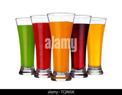 Fruit juice concept, glasses of different juices of fruits and vegetables isolated on white background - Stock Photo
