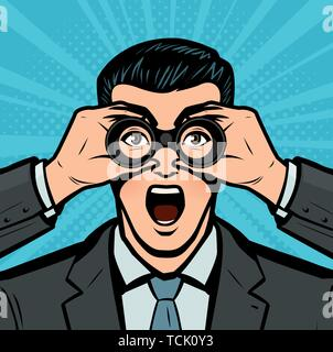 Businessman looking through binoculars. Business concept in pop art retro comic style. Cartoon vector illustration - Stock Photo