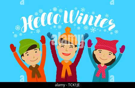 Hello Winter, banner. Happy children enjoy the snow. Cartoon vector illustration - Stock Photo
