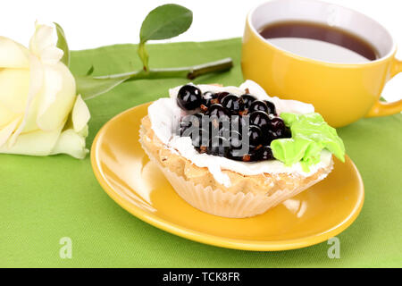 sweet cake with cup of tea close-up - Stock Photo