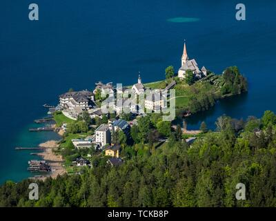 View from Pyramidenkogel to Lake Worth with Maria Worth, Keutschach am See, Carinthia, Austria - Stock Photo