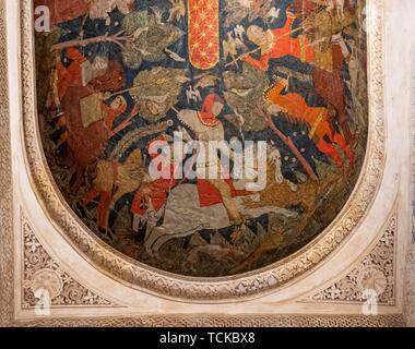 Ceiling painting, Sala de los Reyes, Room of the Kings, Nasrid palaces, Alhambra, Granada, Andalusia, Spain - Stock Photo
