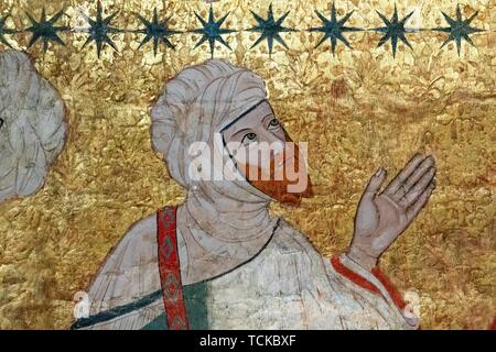 Islamic dignitaries, ceiling painting, Sala de los Reyes, Hall of the Kings, Nasrid palaces, Alhambra, Granada, Andalusia, Spain - Stock Photo