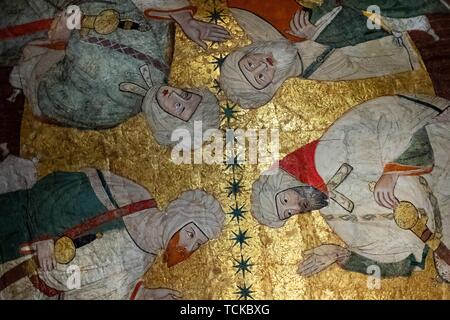 Meeting of Islamic dignitaries, ceiling painting, Sala de los Reyes, Room of the Kings, Nasrid palaces, Alhambra, Granada, Andalusia, Spain - Stock Photo