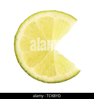 Lime close up isolated on white - Stock Photo