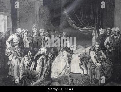 The death bed of Joseph II, 1741-1790, Holy Roman Emperor, 1790, historical woodcut, France - Stock Photo