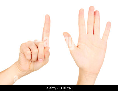 Hands making signs isolated on white - Stock Photo