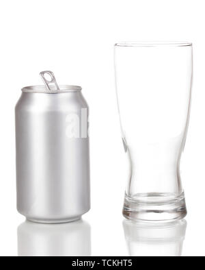 Open aluminum can and glass isolated on white - Stock Photo