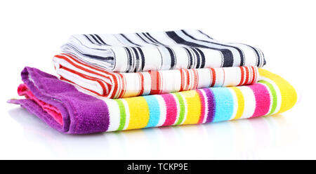 Kitchen towels isolated on white background - Stock Photo