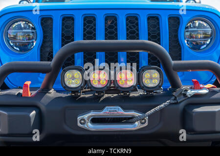 Detroit, Michigan - A Jeep Gladiator J6 concept vehicle on display at a community celebration marking the beginning of construction of a new Fiat Chry - Stock Photo