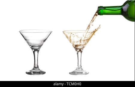 empty martini glass isolated on white - Stock Photo