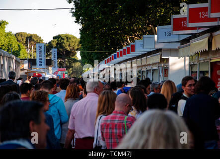 Madrid, Spain. 06th June, 2019.  The public coming to the book fair in Madrid, Spain. - Stock Photo