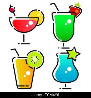 Vector Design Of Cocktail And Drink Logo. Set Of Cocktail And Ice Stock Symbol For Web. - Stock Photo