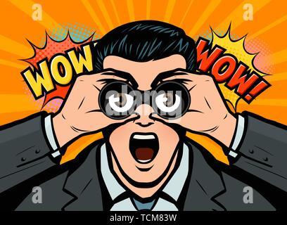 Surprised businessman looks through binoculars. Vector illustration in style comic pop art - Stock Photo