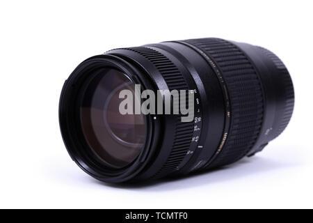 KYIV, UKRAINE - FEBRUARY 28, 2016: Tamron 70-300mm f 4-5.6 AF Di LD Macro Lens - Stock Photo