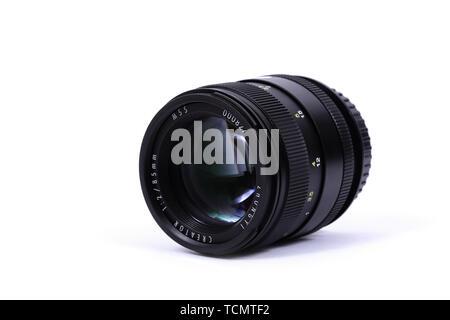 KYIV, UKRAINE - FEBRUARY 28, 2016 Mitakon Zhongyi Creator 85mm Lens - Stock Photo