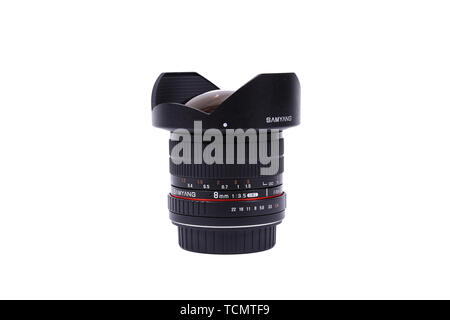 KYIV, UKRAINE - FEBRUARY 28, 2016: Samyang 8mm f 3.5 AS IF UMC Fish-eye CS Lens. - Stock Photo