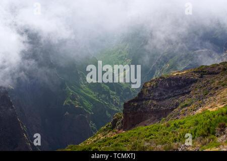 View down from Pico do Arieiro on Portuguese island of Madeira - Stock Photo