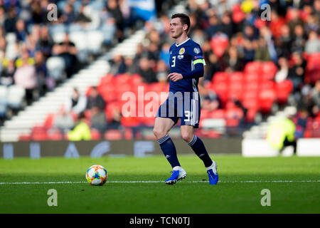 Hampden Park, Glasgow, UK. 8th June, 2019. European Championships, International football, Scotland versus Cyprus; Andy Robertson of Scotland Credit: Action Plus Sports/Alamy Live News - Stock Photo