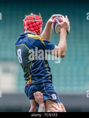 London, UK. 08th, Jun 2019. Surry's Harry Watts catches the ball during Bill Beaumont County Championship Division 2 Final: Surrey v Leicestershire at Twickenham Stadium on Saturday, 08 June 2019. LONDON England .  (Editorial use only, license required for commercial use. No use in betting, games or a single club/league/player publications.) Credit: Taka G Wu/Alamy Live News - Stock Photo