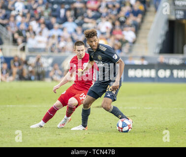 Chester, Pennsylvania, USA. 8th June, 2019. Philadelphia Union defender AUSTON TRUSTY (26) in action against the Red Bulls ALEX MUYL (19) at Talen Energy Stadium in Chester PA Credit: Ricky Fitchett/ZUMA Wire/Alamy Live News - Stock Photo