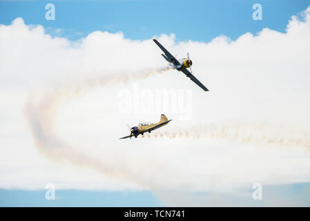 Braga, Portugal. 08th June, 2019. The Aero Camping Aeronautic unique event in the country, once a year run always in the first week of June with entrance released for all audiences with aerobatic presentations, various presentations and course, exhibitors and lots of fun. Credit: Marcelo Lopes/FotoArena/Alamy Live News - Stock Photo