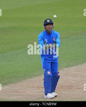 London, UK. 09th June, 2019. MS Dhoni of India during the ICC Cricket World Cup match between India and Australia, at The Kia Oval, London. Credit: Cal Sport Media/Alamy Live News - Stock Photo