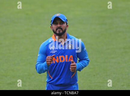 London, UK. 09th June, 2019. Kedar Jadhav of India during the ICC Cricket World Cup match between India and Australia, at The Kia Oval, London. Credit: Cal Sport Media/Alamy Live News - Stock Photo