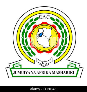 East African Community Emblem Vector Illustration on White Background. - Stock Photo