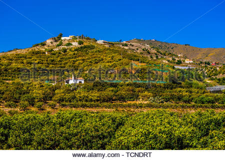 View from the town of Salobrena on the Costa Tropical of Granada Province, Spain with its Moorish castle atop the hill. - Stock Photo