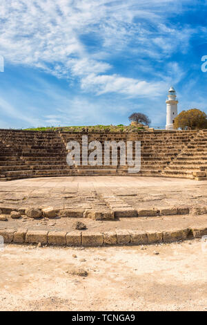 Ancient Odeon amphitheatre in Paphos Archaeological Park (Kato Pafos), harbour of Paphos, Cyprus. Scenic landscape with ruin of medieval architecture, - Stock Photo