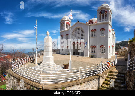 The Big church of Holy Cross in Pedoulas village, panoramic view of impressive architecture, Troodos mountains, Cyprus. The main church of the communi - Stock Photo