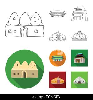 Vector illustration of town  and chinatown sign. Set of town  and asian  vector icon for stock. - Stock Photo