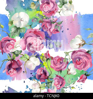 Pink rose and cotton bouquet botanical flowers. Wild spring leaf. Watercolor illustration set. Watercolour drawing fashion aquarelle. Seamless backgro - Stock Photo