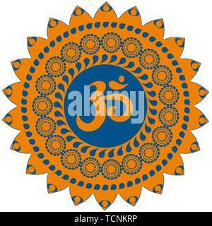 Ornate colorful decorative indian mandala with om sign, aum simbol. Isolated on white background. - Stock Photo